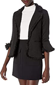 cupcakes and cashmere Womens Polette Tweed Blazer with Ruffle Cuffs and Fringe Details Blazer