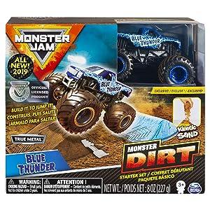 Monster Jam Blue Thunder Monster Dirt Starter Set, Featuring 8 Ounces of Monster Dirt & Truck