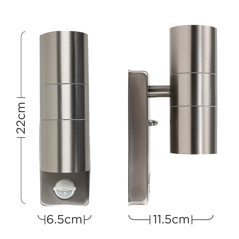 Modern Stainless Steel Metal Outdoor Up  Down Wall Light PIR Motion Sensor IP44