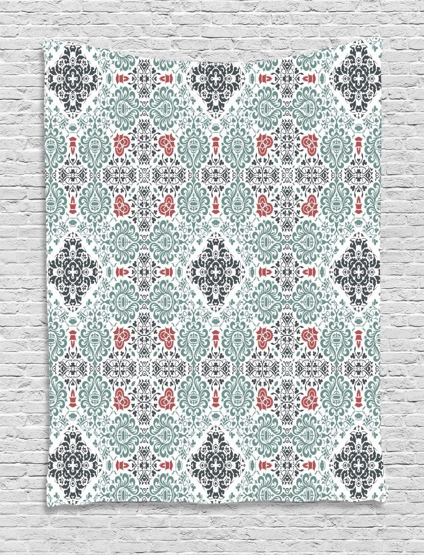 ABAKUHAUS Vendimia Tapiz de Pared, Curlicues Elementos Florales, para el Dormitorio Apto Lavadora y Secadora Estampado Digital, 150 x 200 cm, Espuma De Mar Oscuro Y Gris De Carbón De Coral