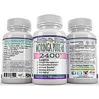 Moringa Oleifera 4:1 Extract Focus Brain Mood Weight Management Memory Max Strength Pure 2400mg Whole Super Food Plus Immune Boost Anti Aging Diet Supplement Senior Organic Tree Leaf Powder Pill 120ct