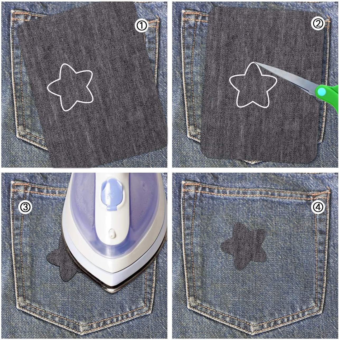 5 Colors Denim Fabric Iron on Patches for Jeans Repair Kit Set Art Craft Decoration Ornaments Naler 30pcs Iron-on-Patch