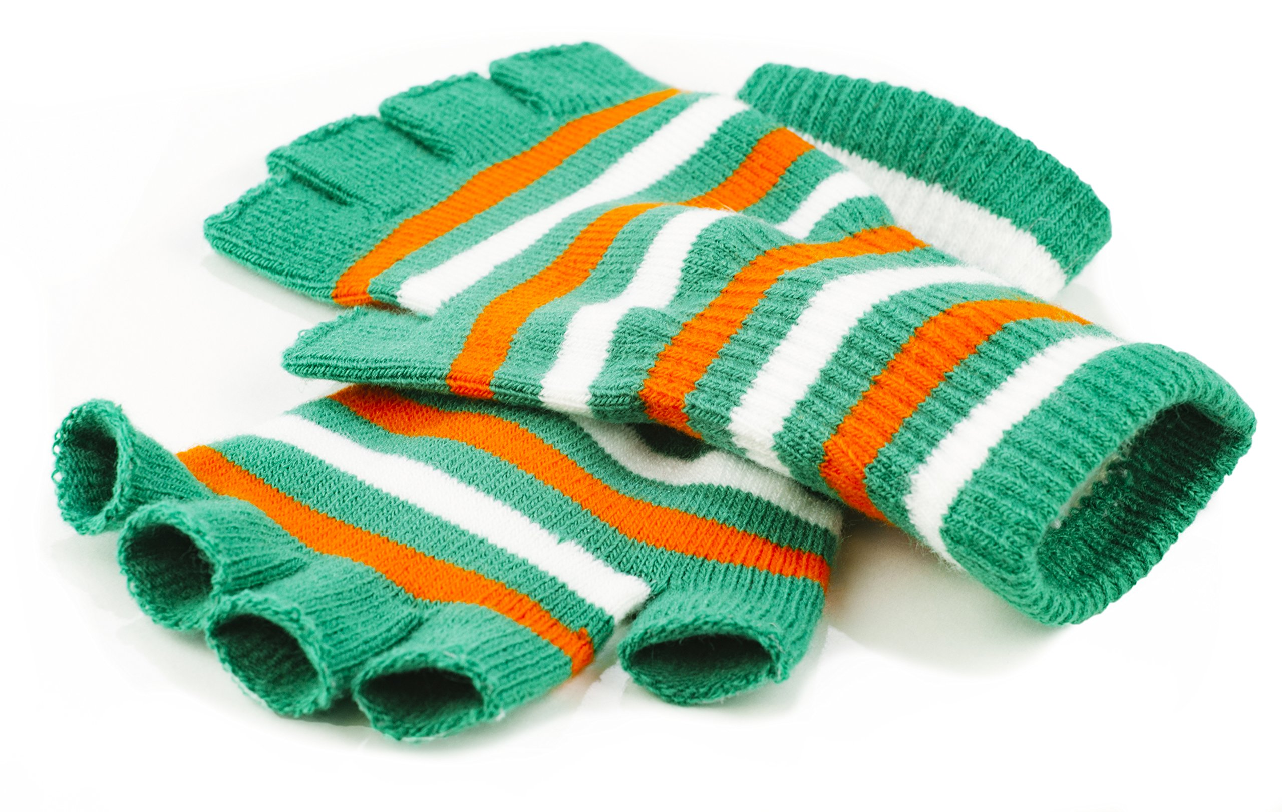 Funny Guy Mugs Warm Stretchy Knit Fingerless Gloves for Women and Men, St. Patty's Colors (Green/Orange/White Striped), One Size Fits Most