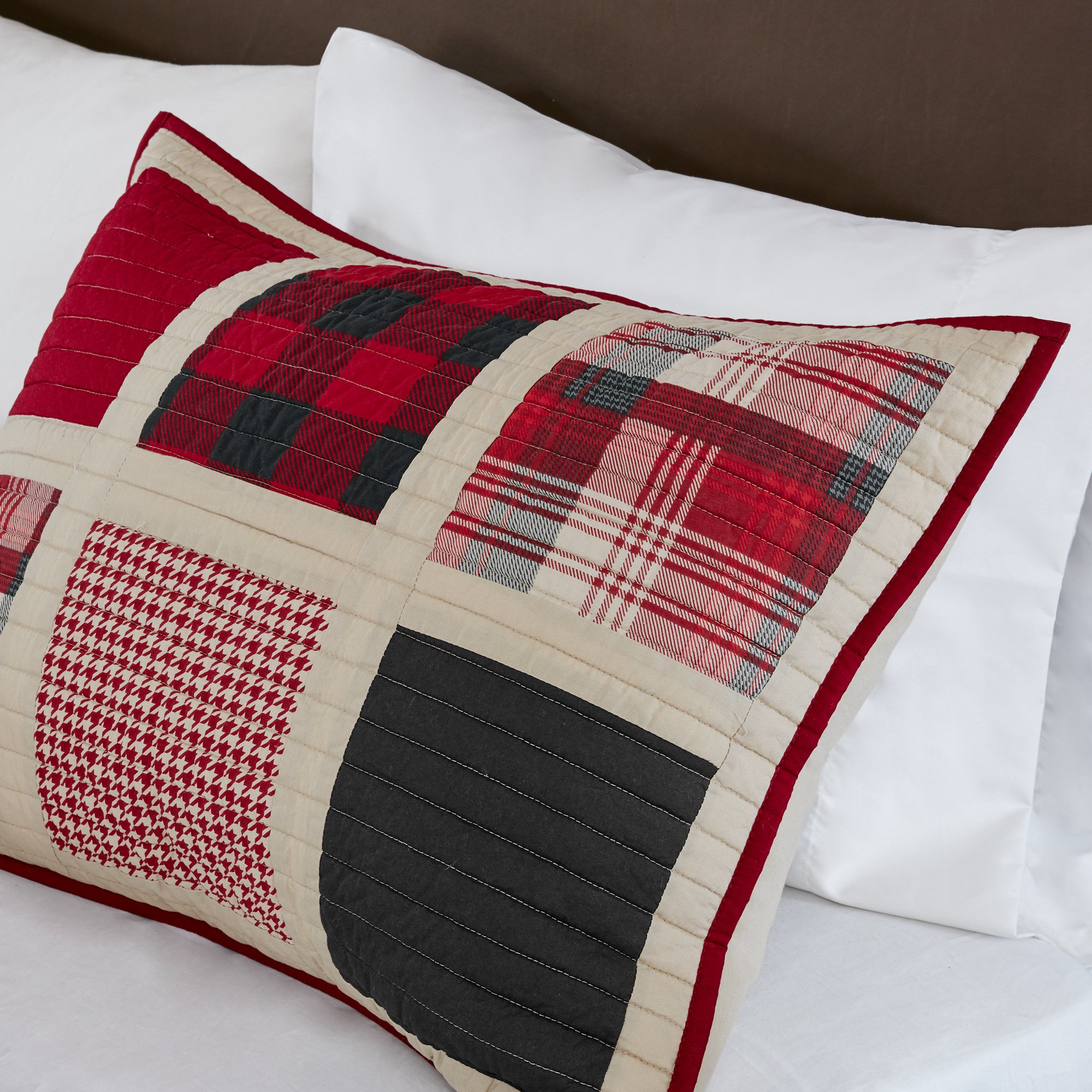 Woolrich Huntington King/Cal King Size Quilt Bedding Set - Red, Pieced Plaid – 3 Piece Bedding Quilt Coverlets – 100% Cotton Percale Bed Quilts Quilted Coverlet