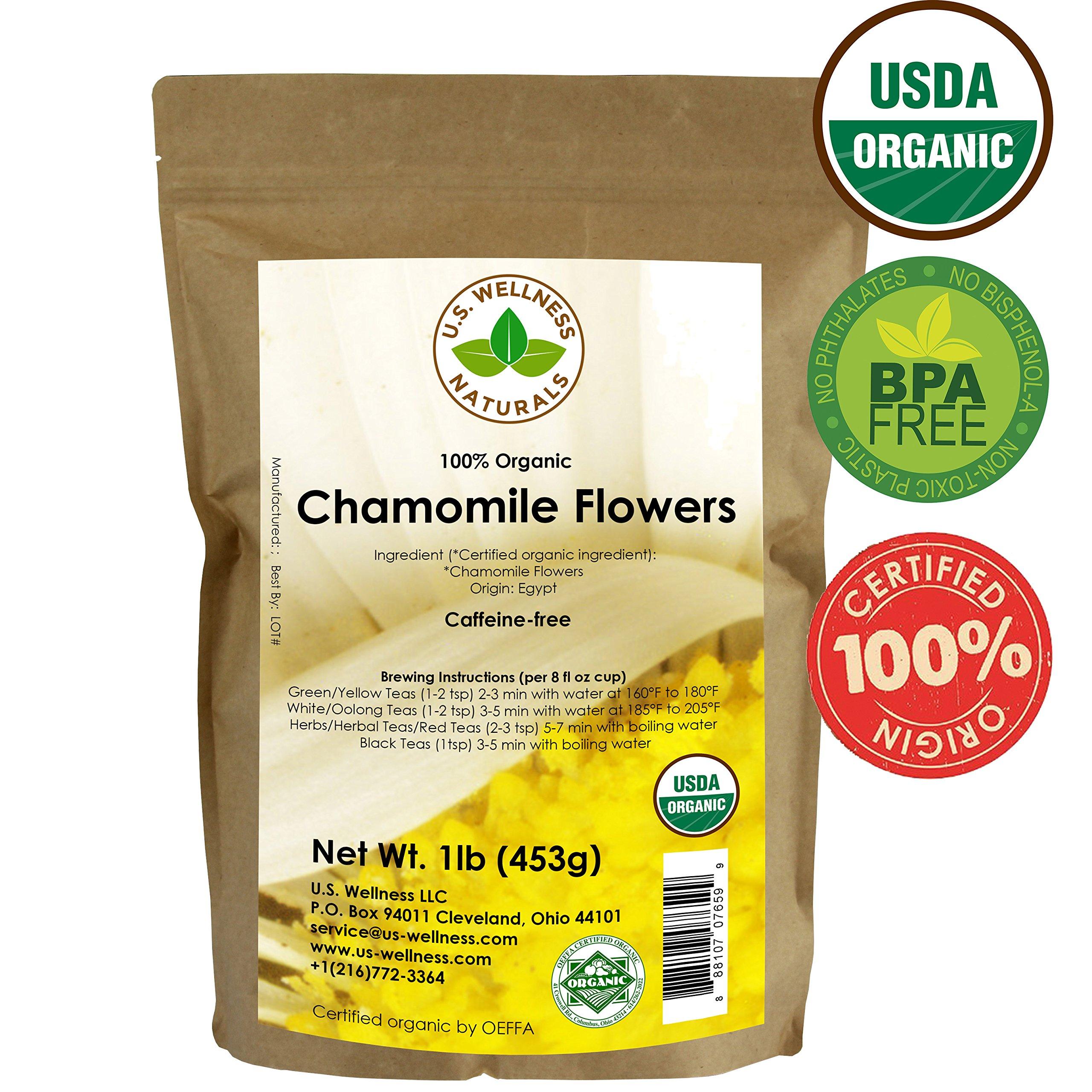 Chamomile Tea 1LB (16Oz) 100% CERTIFIED Organic (USDA seal) Chamomile Flowers Herbal Tea (Matricaria Chamomilla) in 1 lb Bulk Kraft BPA free Resealable Bags from U.S. Wellness