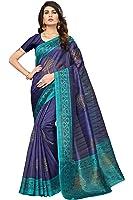SAREE MALL Art Silk Saree With Blouse Piece (_Blue_Free Size)