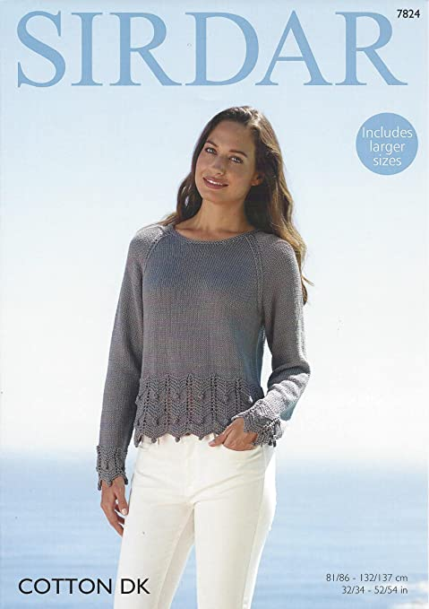 97025c5ad057 Sirdar Cotton DK 100g Knitting Pattern - 7824 Sweater  Amazon.co.uk   Kitchen   Home
