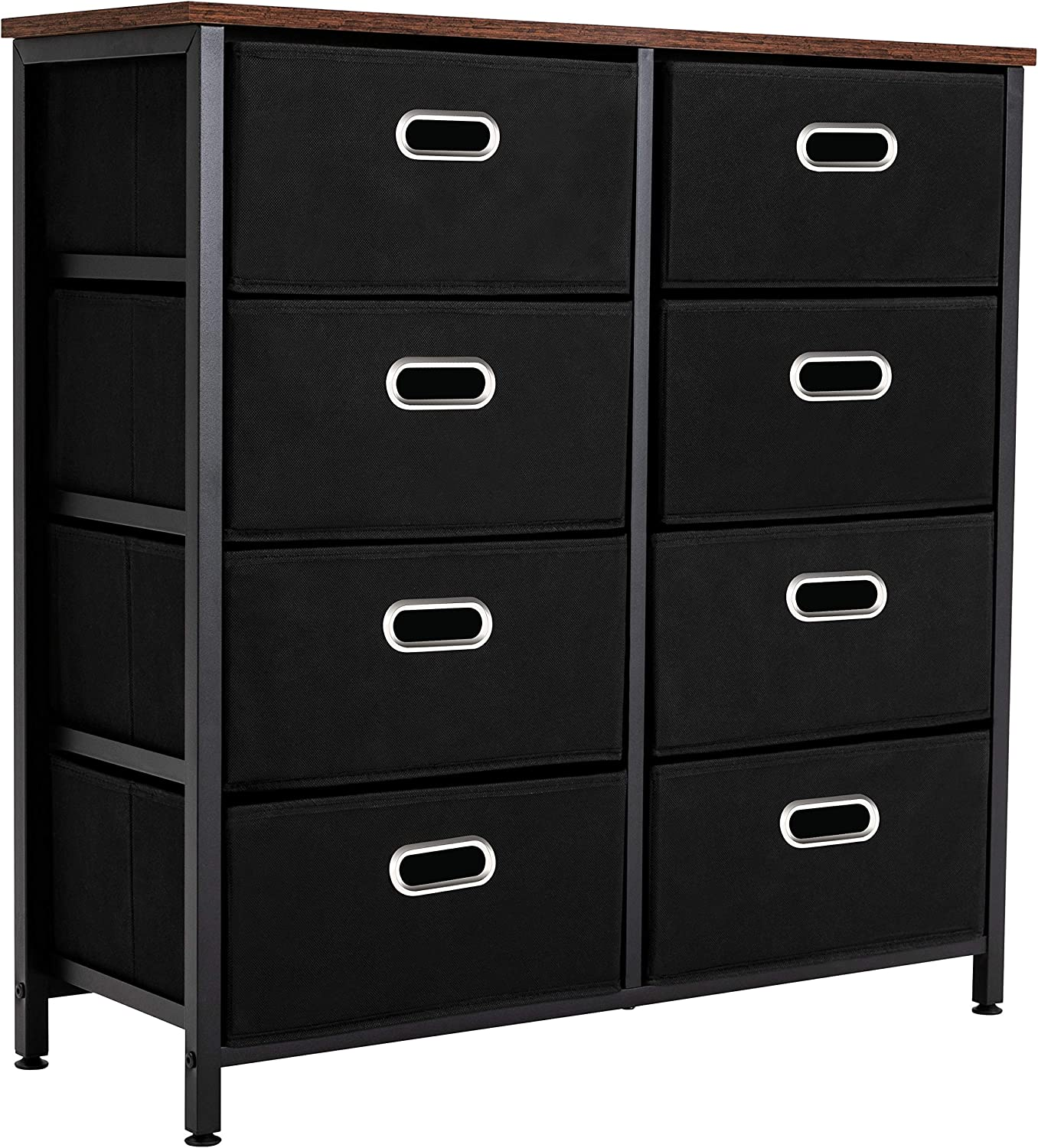 8 Drawer Dresser, Dressers for Bedroom,Chest of Drawers, Dresser Storage Tower,Closet Organizers and Storage,Easy Pull Fabric Drawers,Sturdy Metal Frame,Rustic Wood Top, Black