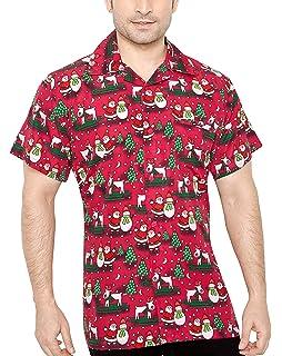 c55f3bd9 CLUB CUBANA Men's Regular Fit Classic Short Sleeve Casual Christmas Xmas  Shirt