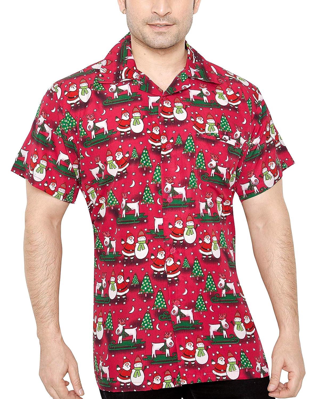 TALLA XXL. CLUB CUBANA Hombres Ajuste Regular Clásica Manga Corta Casual Navidad Camiseta Navideña