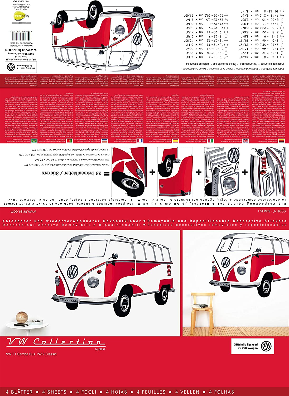 BRISA VW Collection - Volkswagen Furgoneta Hippie Bus T1 Van Pegatina de Pared Vintage de Vinilo (PVC), Tatuaje de Pared Autoadhesivo y Multi-partes, ...