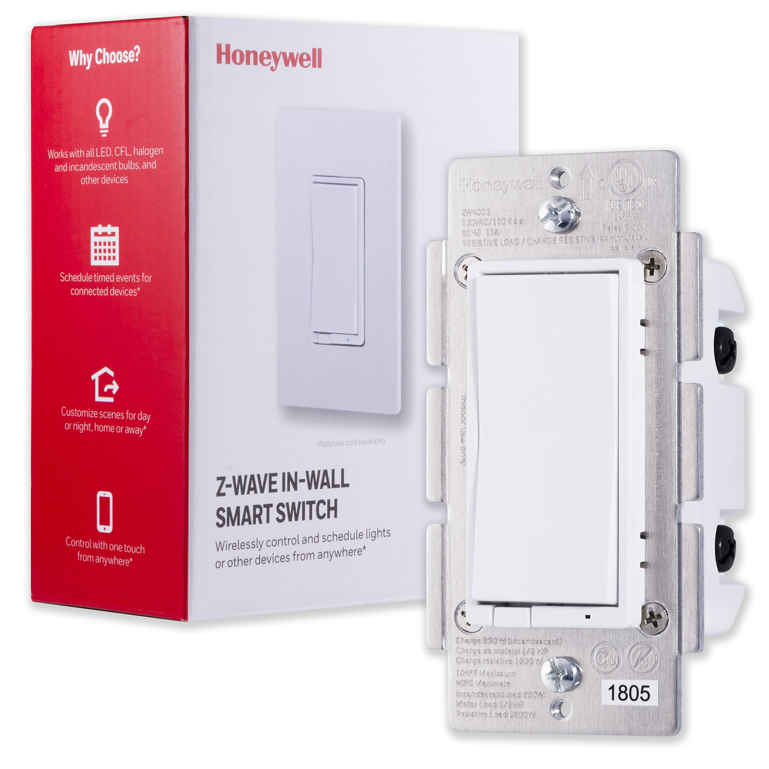 Honeywell Z-Wave Plus On/Off Smart Light Switch, In-Wall Paddle, Interchangeable White & Almond | Built-In Repeater & Range Extender | ZWave Hub Required - SmartThings, Wink, Alexa Compatible, 39348 by Honeywell
