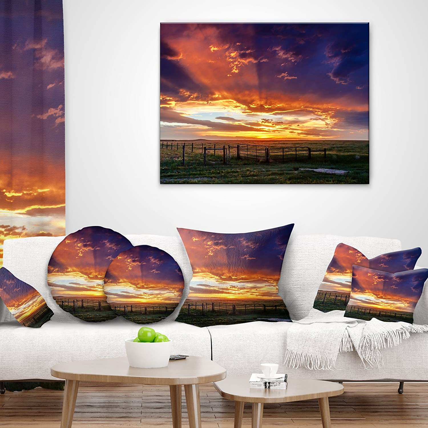 X 16 In Designart Cu14053 16 16 Dramatic Sunset Over Prairie Landscape Printed Cushion Cover For Living Room Sofa Throw Pillow 16 In In