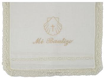 """Paño bautismal color beige bordado con el mensaje""""Mi Bautizo"""""""