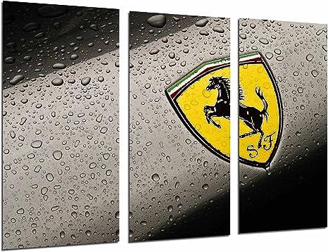 Ref Quadro Su Legno Ferrari Car gialla 26741 Stampa in qualita fotografica 131 x 62cm