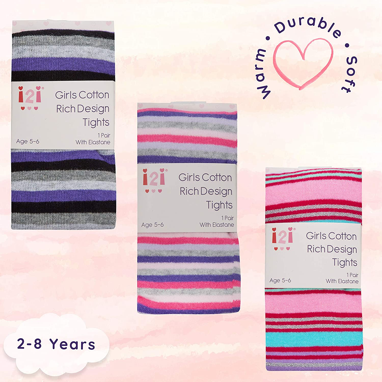 Age 5-6 years New Girls 2 Pair Pack of Sparkle Pink /& Purple Tights