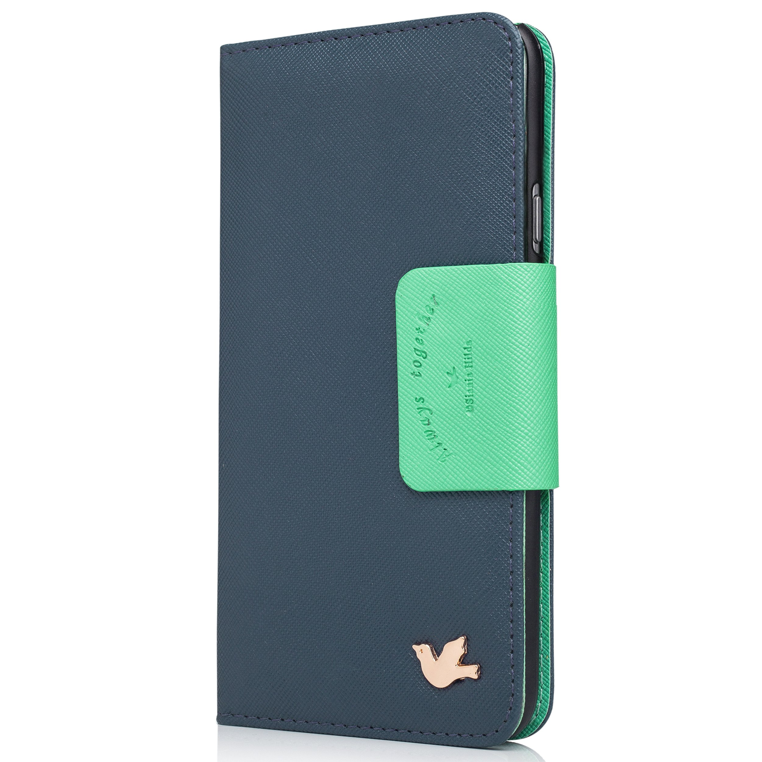 iPhone 6 Case,(4.7),[Upgraded-Opened Volume and Power Button Ports,no Break Issues] by HiLDA,Wallet Case,PU Leather Case,Credit Card Holder,Flip Cover Skin[Blue]