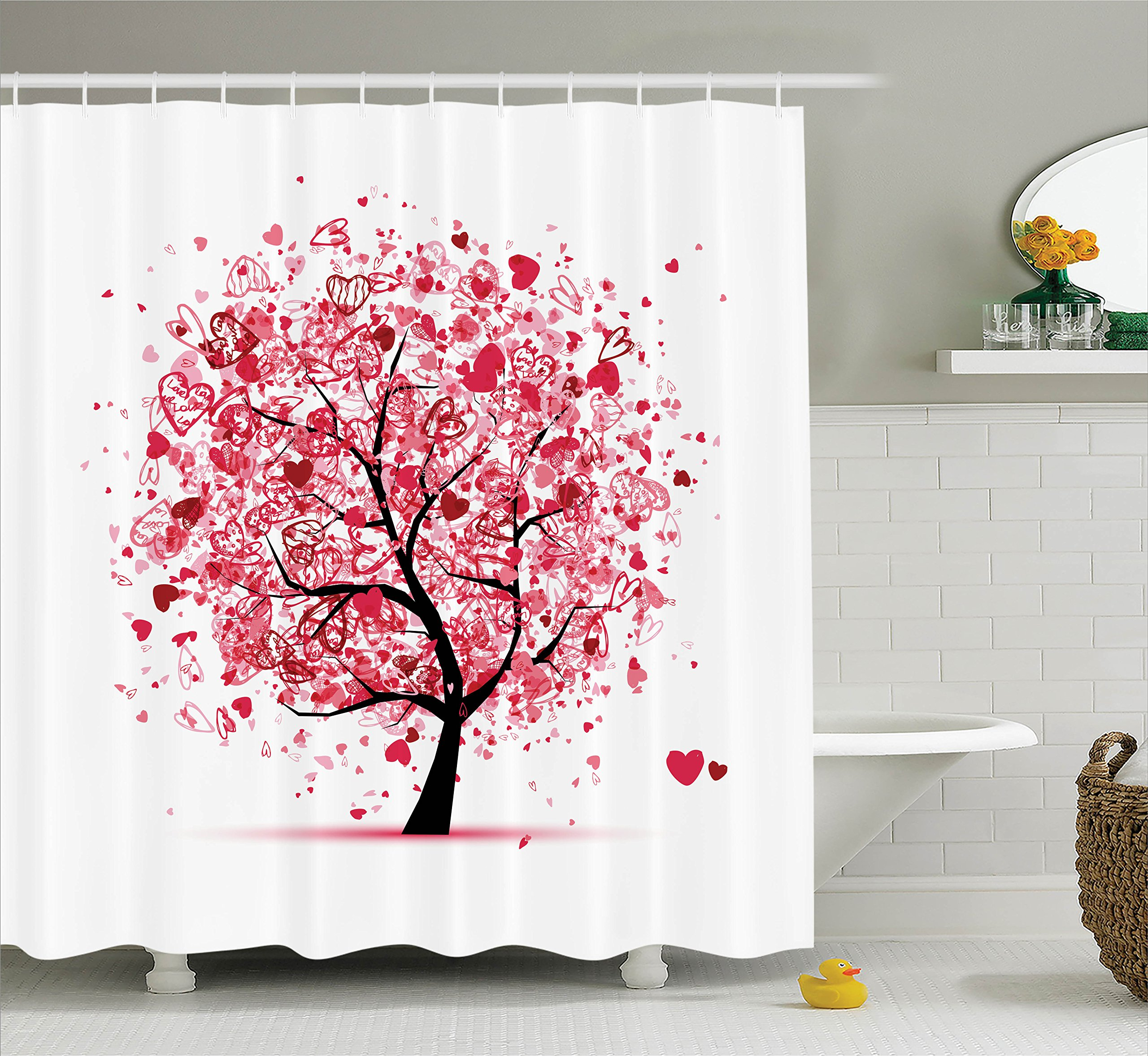 Ambesonne Tree of Life Decor Collection, Ornate Valentine Tree with Swirling Hearts Doodles Love Future Couple Decorative , Polyester Fabric Bathroom Shower Curtain Set with Hooks, Red Black