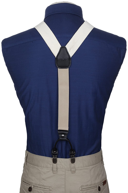 Dress Suspenders For Men Silk-Like Pants Suspenders Marino Suspenders and Bow Tie Set