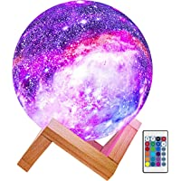 Fistech 3D Printing Galaxy Night Lamp with Wooden Stand, 15cm 16 Colors LED Rechargeable Star Moon Lamp with Remote…