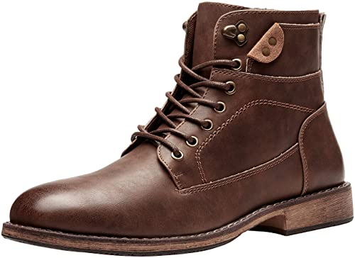 VOSTEY Men's Dress Ankle Boots Casual Motorcycle Boot Lace up Chukka Boot (07,Casual combat680-brown)  best men's dress boots