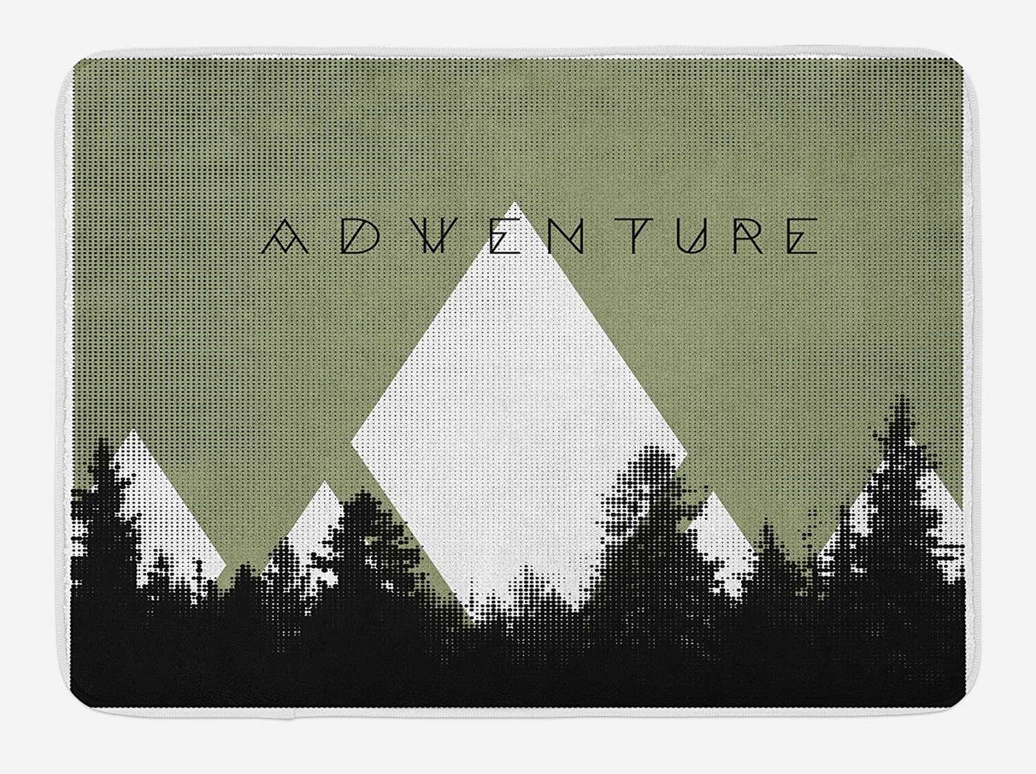 Ambesonne Adventure Bath Mat, Forest Halftone Effect Hipster Typography Camping in Mountains, Plush Bathroom Decor Mat with Non Slip Backing, 29.5