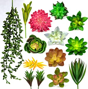 14 Pcs Fake Succulent Plants - Unpotted Artificial Succulent Plants - Faux Succulent Floral Arrangement Accent for Indoor and Outdoor Home Decor