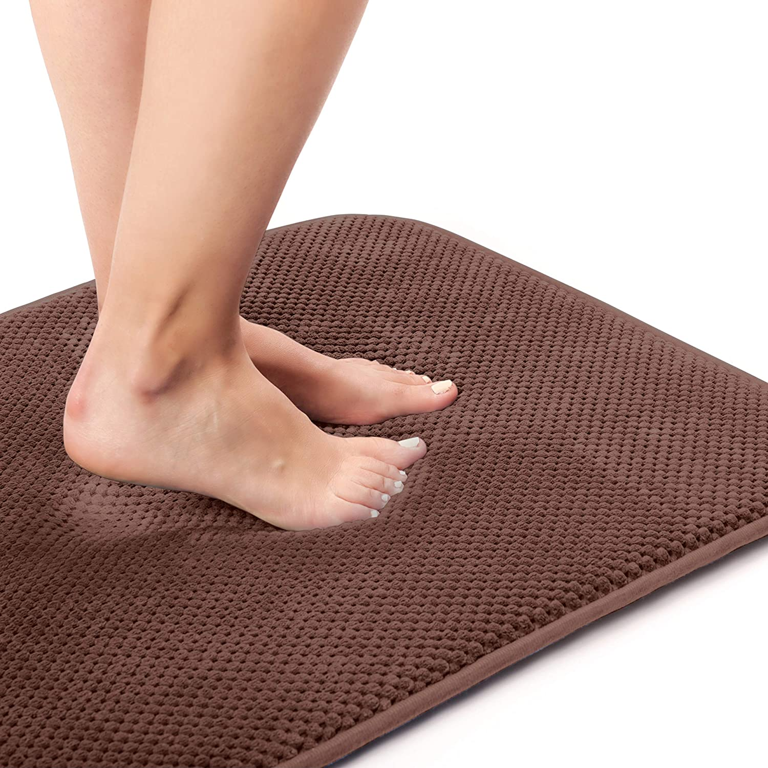 Kingole Absorbent Memory Foam Bath Mat, Non Slip and Cozy Microfiber Bathroom Floor Mat, Thick and Quick Drying (20 x 32 inches, Brown)