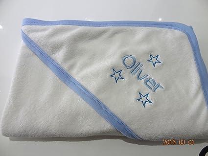 Personalizado con capucha bebé toalla de baño – azul – Beautifully Embroidered – envío rápido