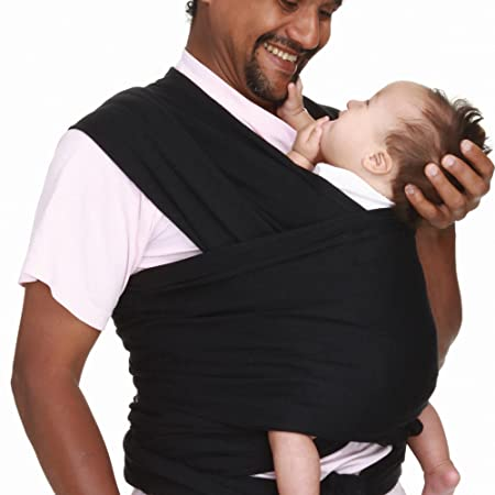 a7eeeb6a4f2 Amazon.com   Optimum Cotton Wrap-Around Baby Carrier Tie Baby Sling in Black  (5-7 Carrying Positions)   Baby