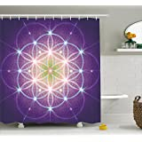 Ambesonne Bohemian Shower Curtain Interlace Circles Sign Of Cosmos Harmony Folk Hidden Abstract Motif