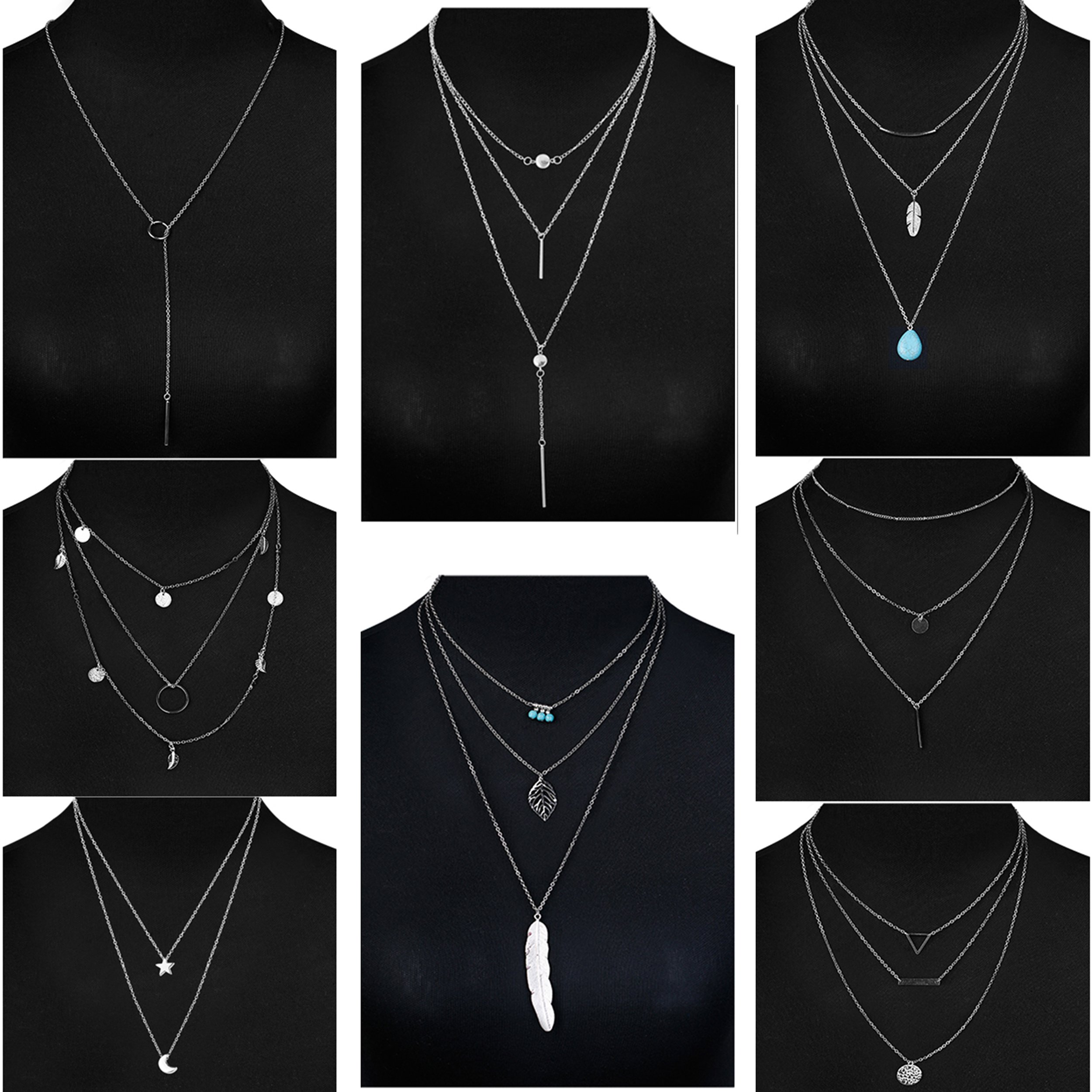 Jstyle 8 Pcs Simple Layered Choker Necklace For Women Girls Sexy Long Chain Y Necklace Bar Feather Pendent Necklace (Style B:8Pcs(Silver))