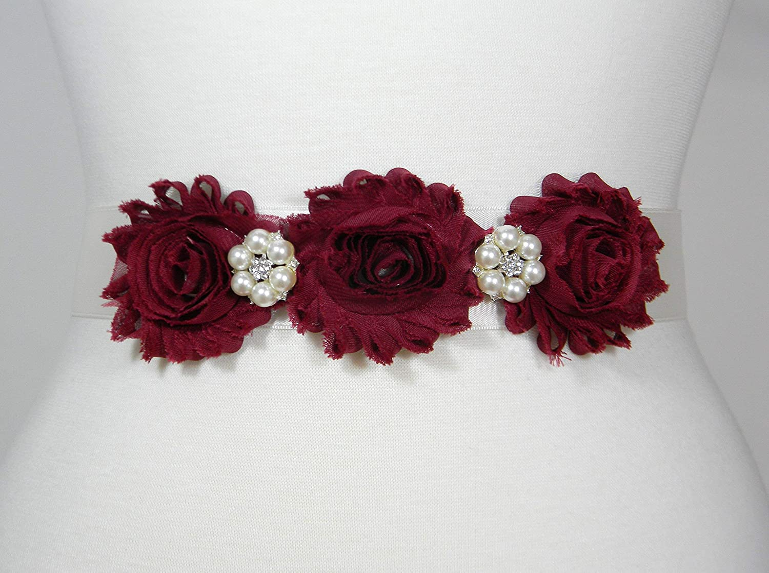 Maroon Flowers and Ivory 1.5
