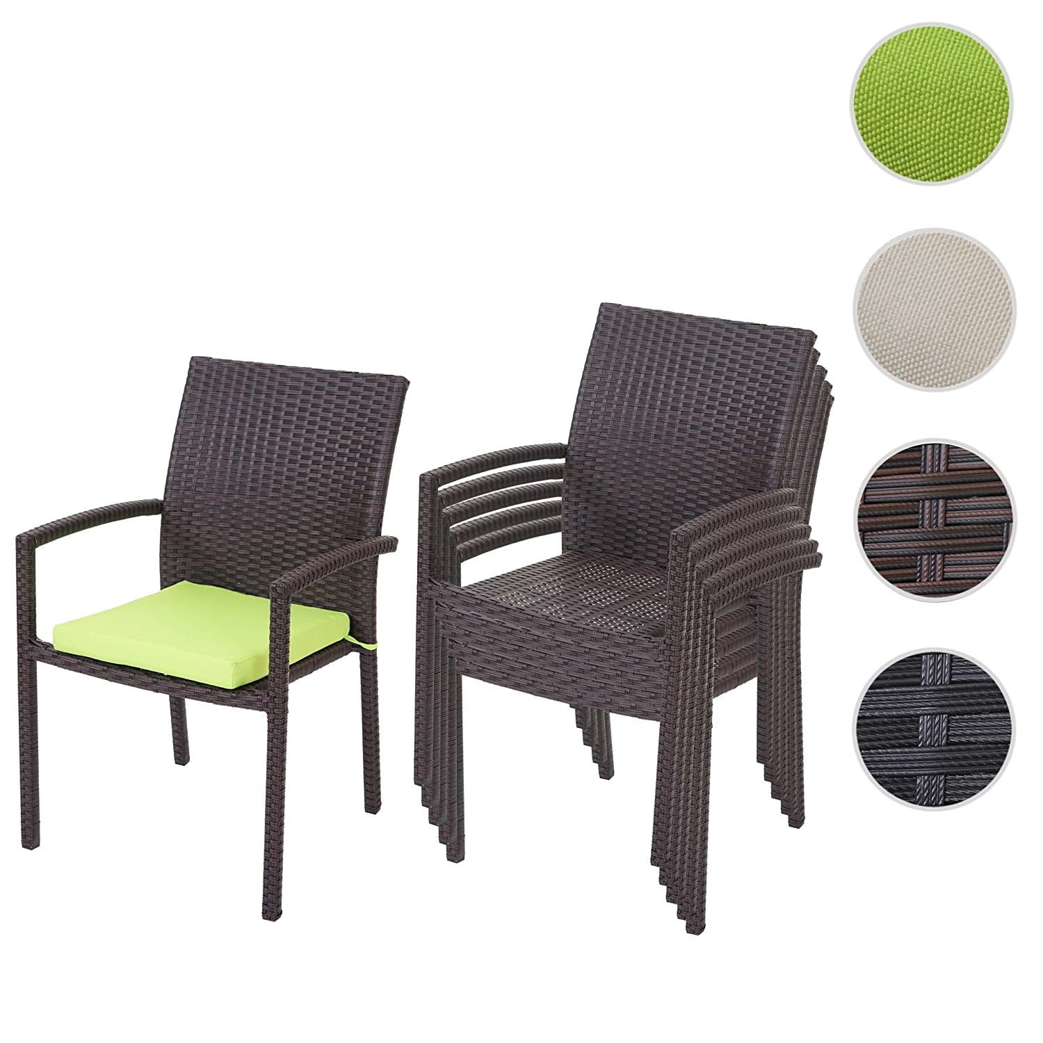 6x poly rattan gartenstuhl cava stapelstuhl inkl sitzkissen braun kissen gr n bestellen. Black Bedroom Furniture Sets. Home Design Ideas
