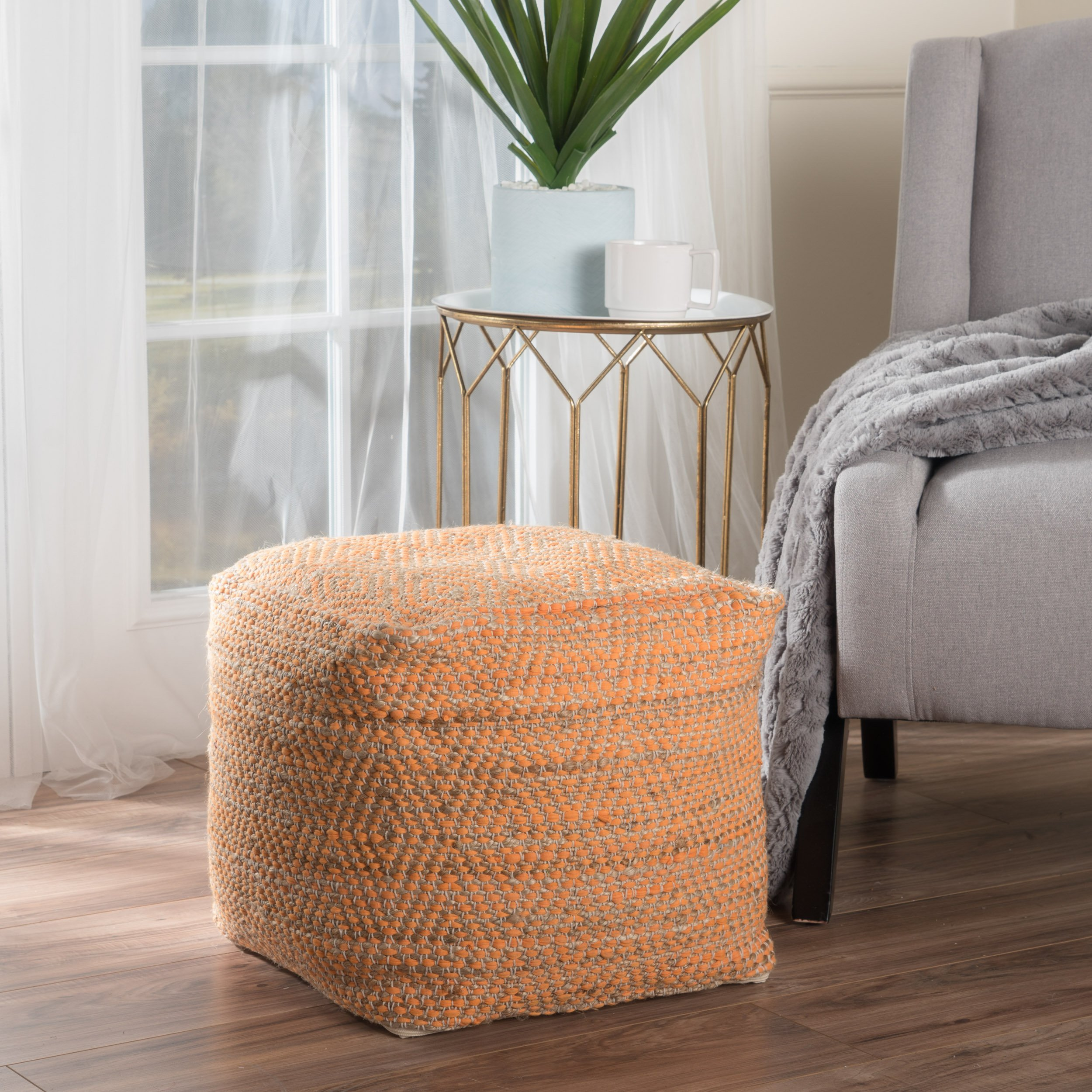 Bella Orange Fabric Pouf