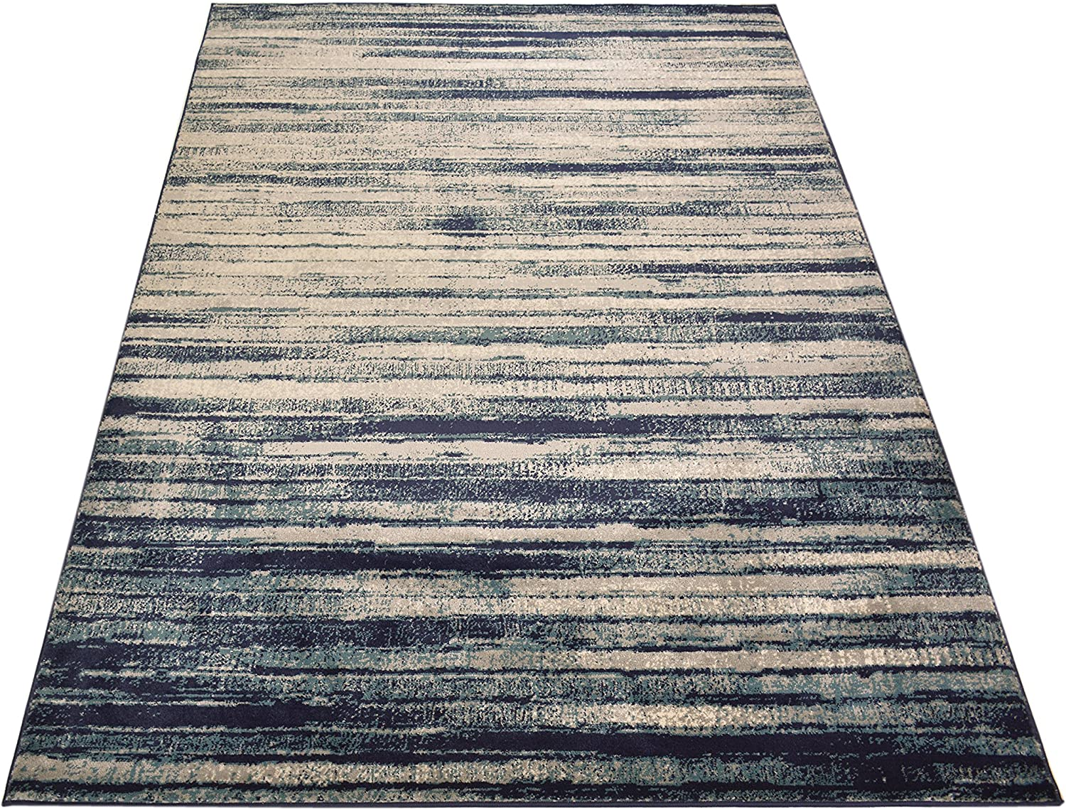 Amazon Com Studio Collection Vintage Distressed Stripes Abstract Design Contemporary Modern Area Rug Rugs 3 Options Stripes Navy Blue 8 X 10 Home Kitchen