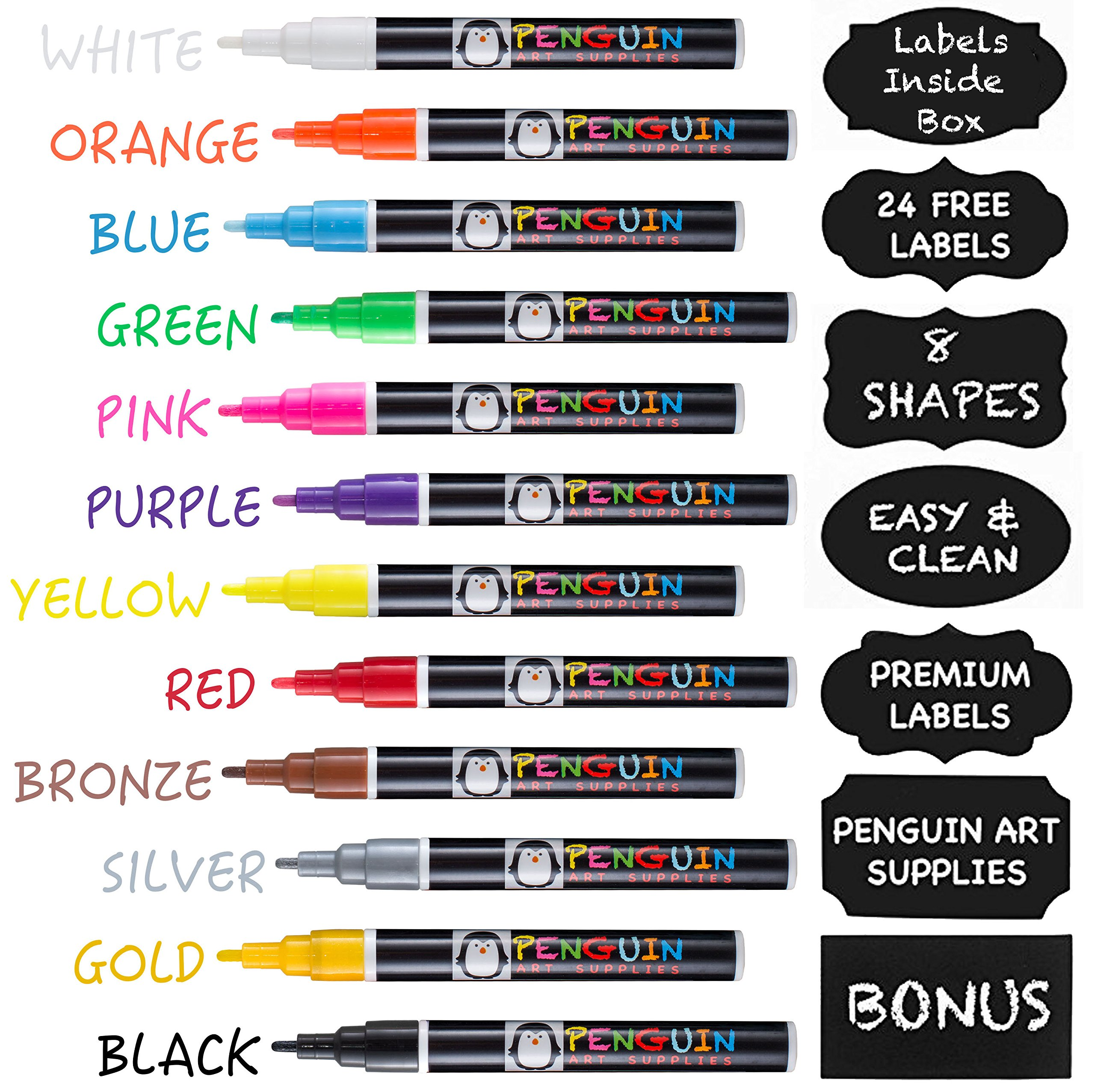 Professional Artist Quality Fine Tip Chalk Markers - Set of 12 Color Liquid Pens Dry Erase + BONUS 24 Chalkboard Stickers