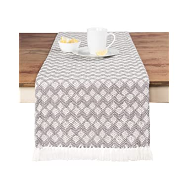 Sticky Toffee Cotton Woven Table Runner with Fringe, Scalloped Diamond, Gray, 14 in x 72 in