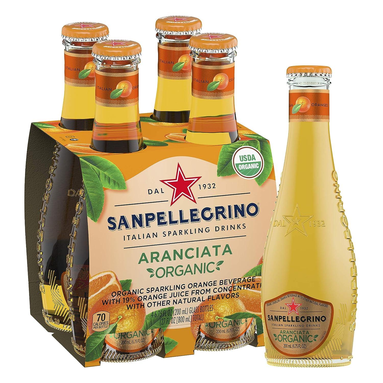 Sanpellegrino Italian Sparkling Drink, Organic Orange, 6.75 Fluid Ounce, Glass Bottles, (Pack Of 4)