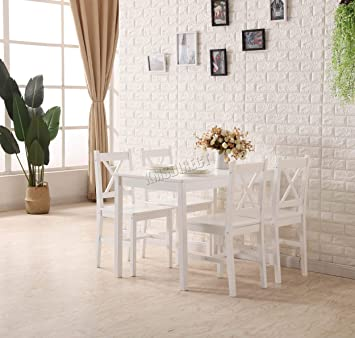 Westwood Quality Solid Wooden Dining Table And 4 Chairs Set Kitchen Furniture Ds03 Natural Pine White Painting