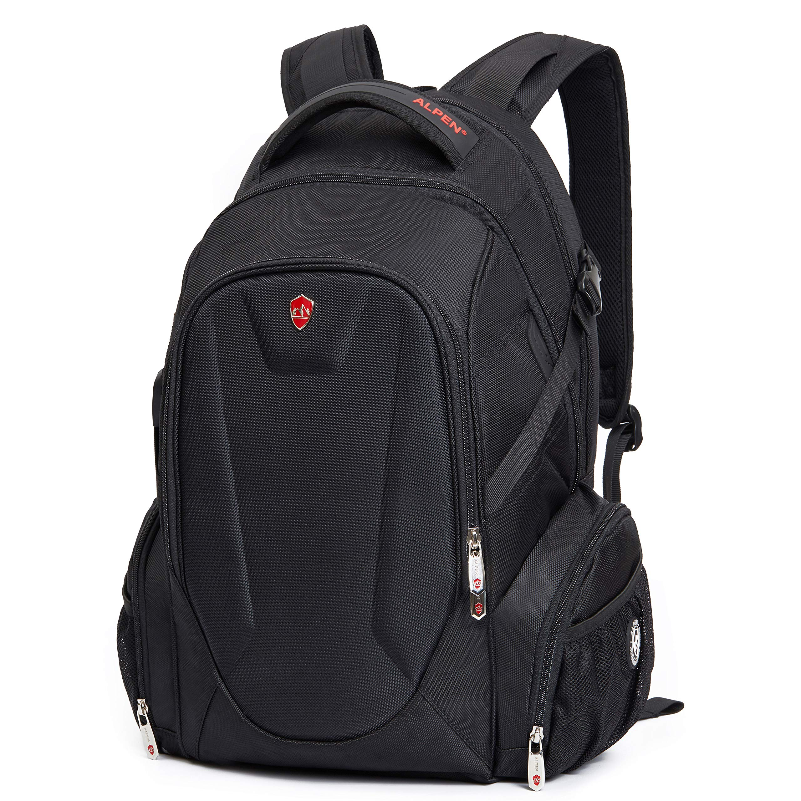 Swiss Alpen - Blanc Backpack - Water Resistant Durable 1680D Large Laptop Backpack for Travel, School & Business - Fits 15.6'' Laptop with USB Charging Port - Black Exclusive