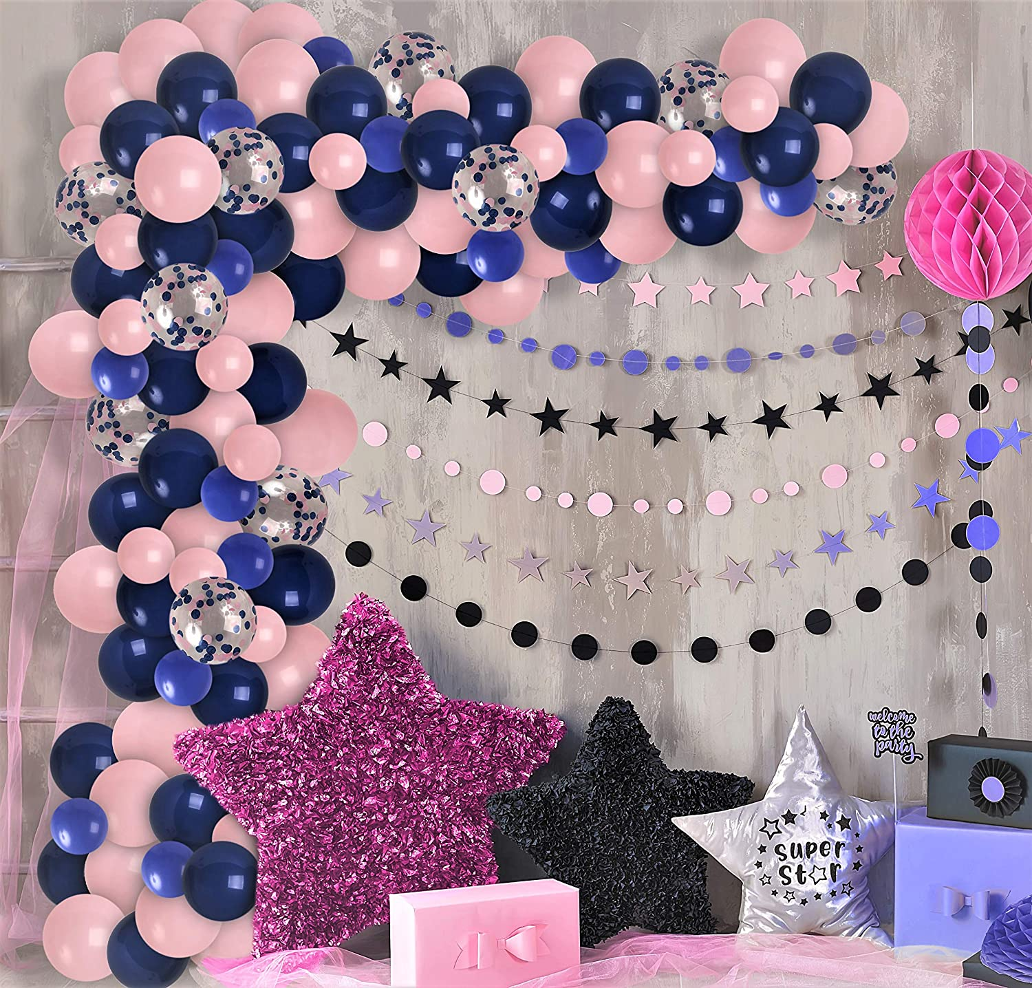 Pink Blue Nautical Baby Shower Latex Balloons Party Balloon Bouquet Balloon Decorations Nautical Party Balloon Centerpiece