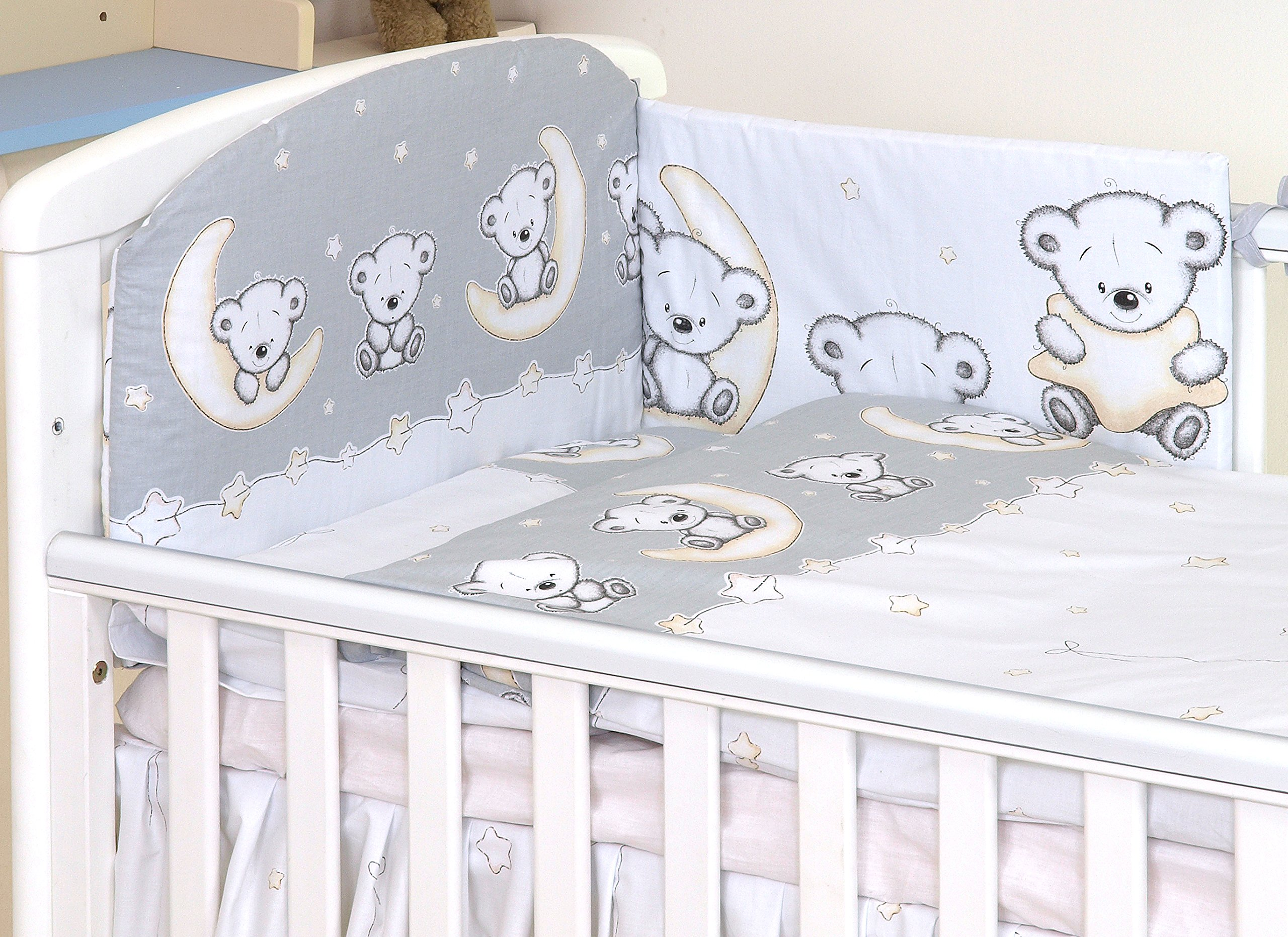 BABY 6PC BEDDING SET PILLOW DUVET BUMPER FIT COT 120x60cm Sweet Animals Grey