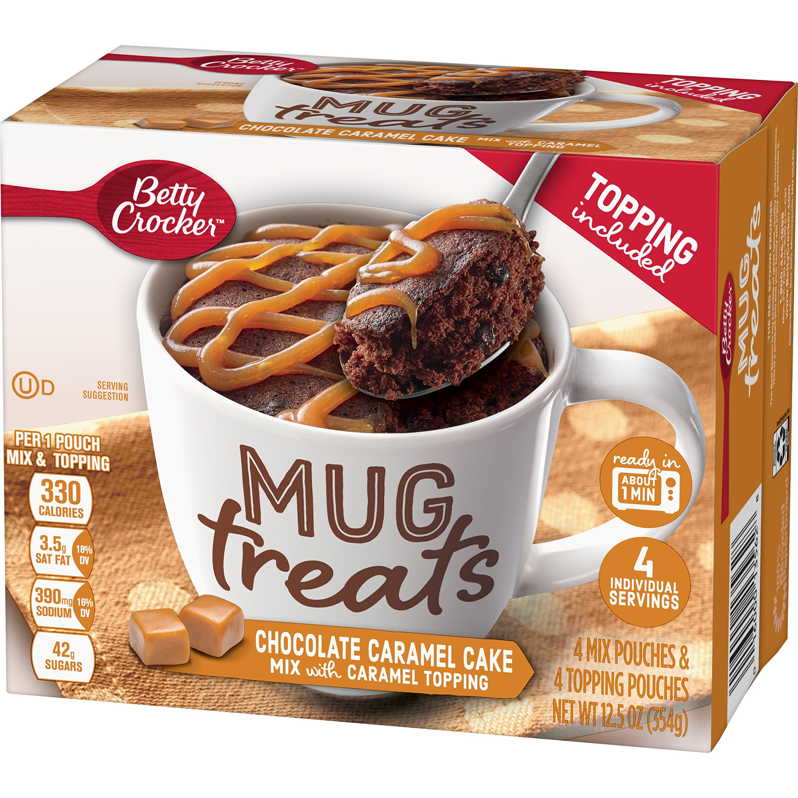 Betty Crocker Baking Mug Treats Chocolate Caramel Cake Mix with Caramel Topping, 12.5 oz(us)