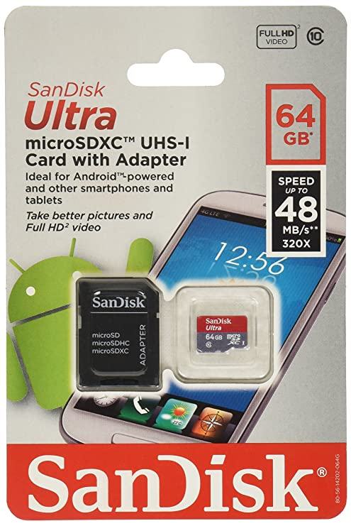 SanDisk Ultra 64GB MicroSDXC Class 10 UHS Memory Card Speed Up To 30MB/s With Adapter, Frustration-Free Packaging - SDSDQU-064G-AFFP-A [Old Version]