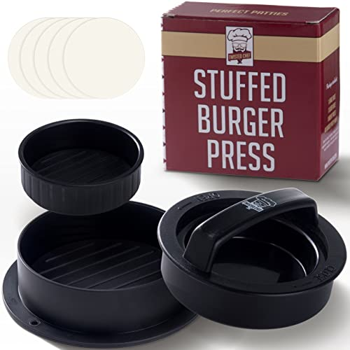 Non Stick Hamburger Press Maker, 40 Bonus Wax Paper Discs, Easy to Use, Dishwasher Safe, Works Best for Stuffed Burgers, Sliders, Regular Beef Burgers, Essential Kitchen and Grilling Accessories