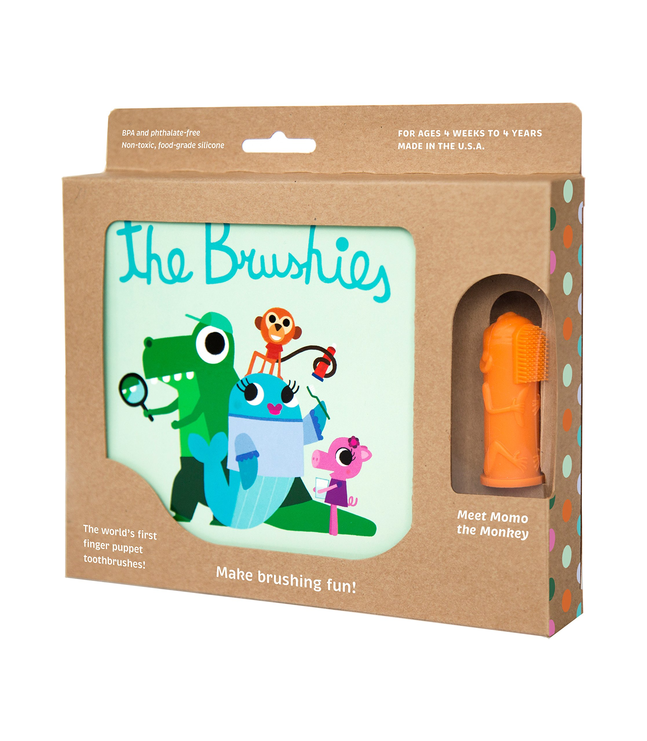 The Brushies - baby and toddler toothbrush and storybook - Momo the Monkey!