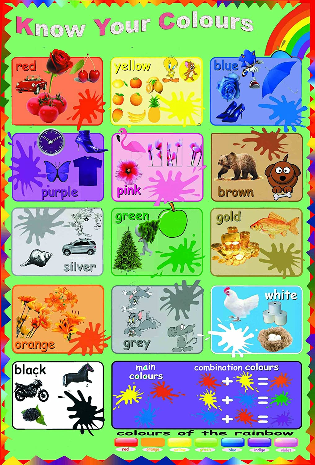laminated know your colours educational teaching children kids ...