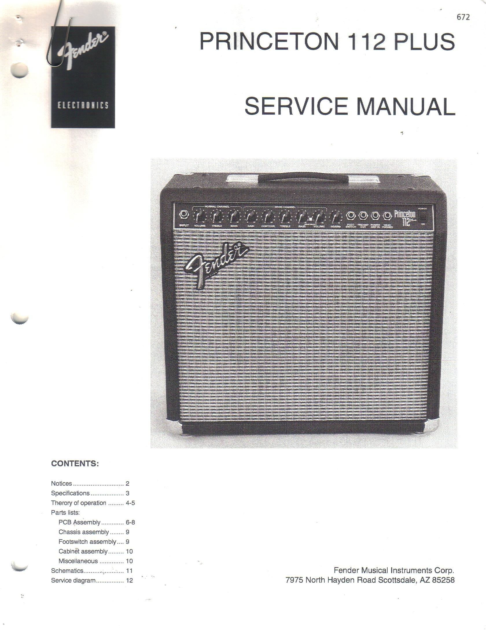 FENDER Princeton 112 PLUS Guitar Amplifier Amp Service Manual Repair Guide:  Fender Electronics, SUNN: Amazon.com: Books