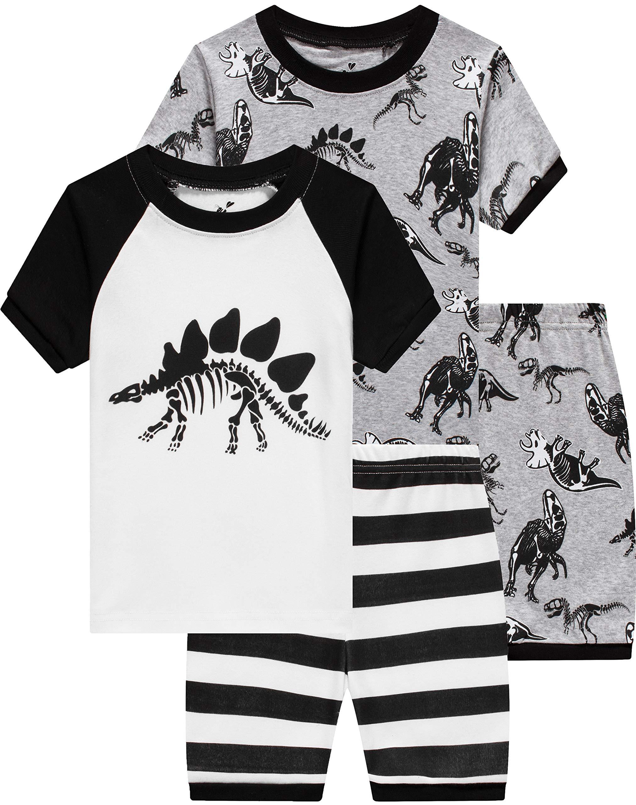 Boys Dinosaur Pajamas Children 4 Pieces Sleepwear Baby Clothes Summer Kids Short PJs Set 8t